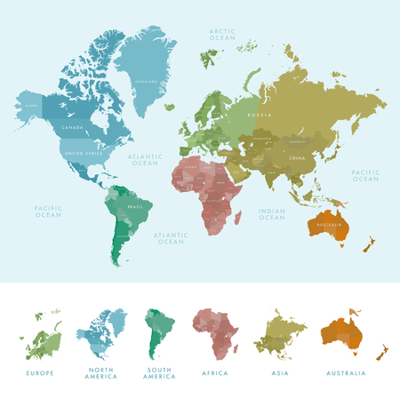 the continents: Continents and countries on the world map marked. Colored highly detailed world map.