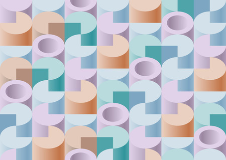 sectors: Seamless isometric lite pattern of the cylinders, tube and sectors