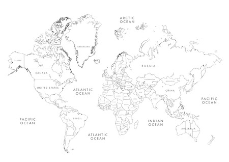 Highly detailed world map with labeling grayscale vector 62859153 highly detailed world map with labeling linear vector illustration gumiabroncs Images