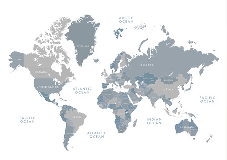 Highly detailed world map with labeling. Grayscale vector illustration. 일러스트