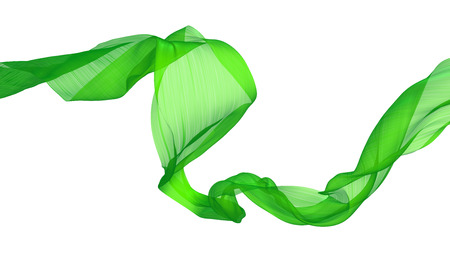 Flowing green satin a white background 版權商用圖片 - 62859465