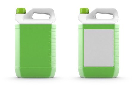 White plastic canister with green liquid, 3d rendering