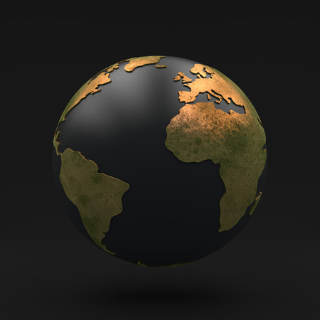 Black globe with Golden continents, view africa, europe and south america, 3D illustration Stock Photo