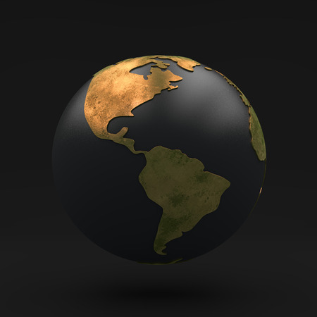 Black globe with Golden continents, view south america and north america, 3D illustration