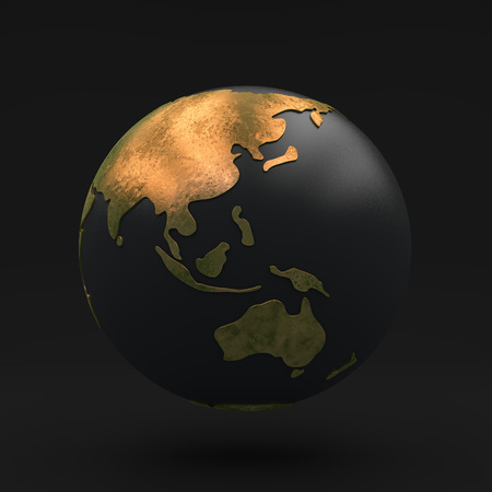 golden globe: Black globe with Golden continents, view asia and Australia, 3D illustration Stock Photo