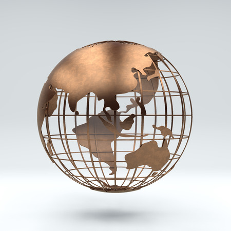 Metal bronze globe view asia and Australia, 3d rendering