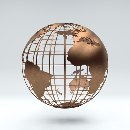 Metal bronze globe view africa, europe and south america, 3d rendering