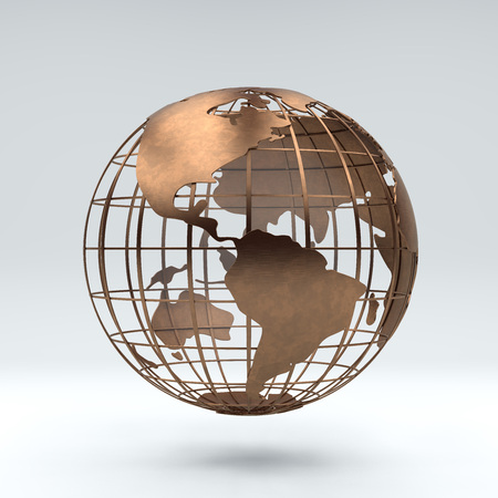 Metal bronze globe view south america and north america, 3d rendering