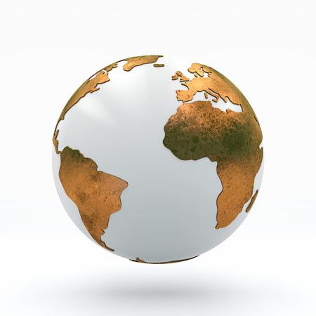 White globe with Golden continents, 3D illustration 版權商用圖片