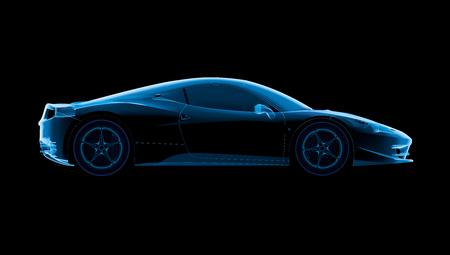 Sport car view side, 3d rendering