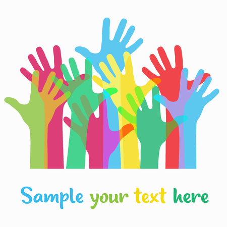 Very bright, colorful up hand background, vector illustration