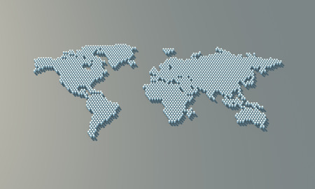 Dotted world map. 3d world map from the barrels. 3d rendering