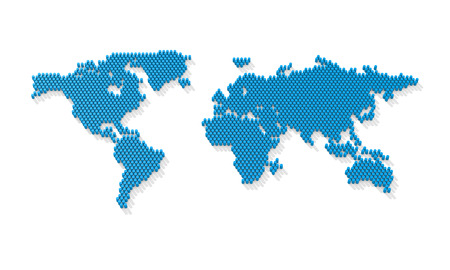 Dotted world map. 3d world map from the blue barrels. 3d rendering