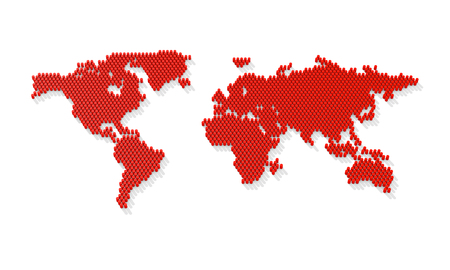 Dotted world map. 3d world map from the red barrels. 3d rendering
