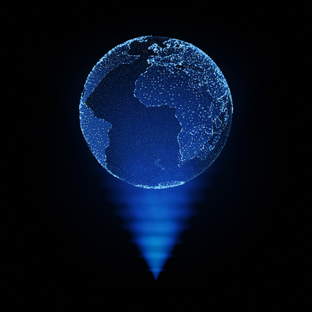3d hologram globe. Technological digital globe world