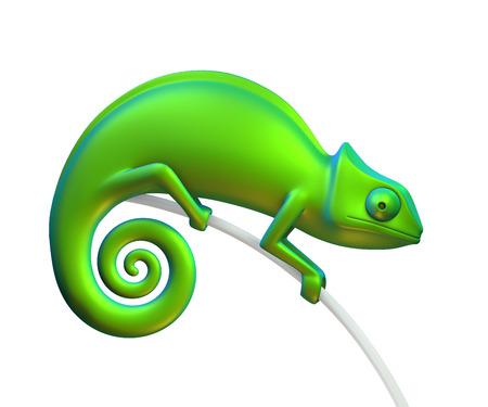 Green chameleon on a white background. 3d rendering 版權商用圖片