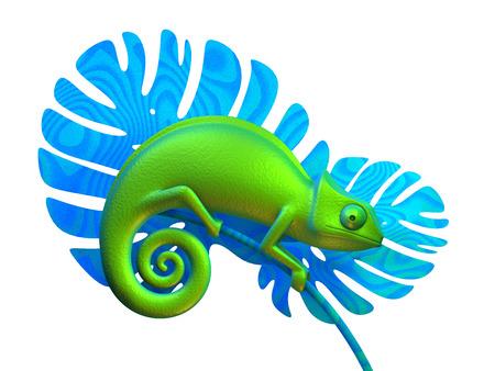 Green chameleon on branch. 3d rendering 版權商用圖片