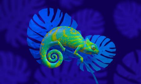 Bright green chameleon, 3d rendering. View side 版權商用圖片