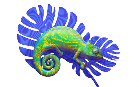 green chameleon on blue branch, 3d rendering. View side 版權商用圖片