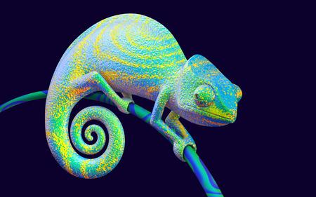 Bright green chameleon, 3d rendering.