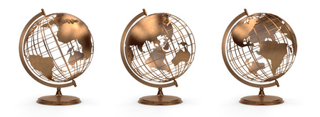 Vintage bronze globe view south america and north america, europe
