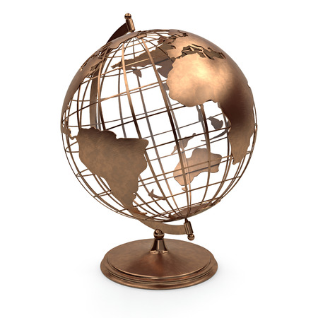 Metal retro globe view north america, europe, africa. 3d render 版權商用圖片