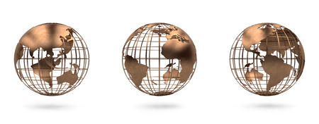 Metal globe view south america and north america, europe, asia, 版權商用圖片