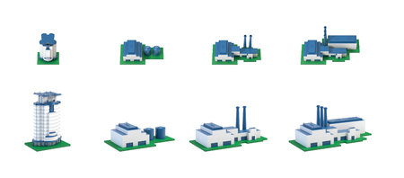 Industrial 3d buildings isometric icons set with plants and factories isolated illustration