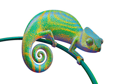 Bright green chameleon on a branch, 3d rendering. Stock Photo