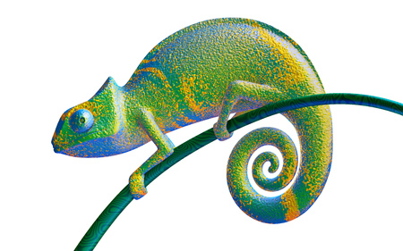 Green and purple chameleon, view side, 3d rendering.