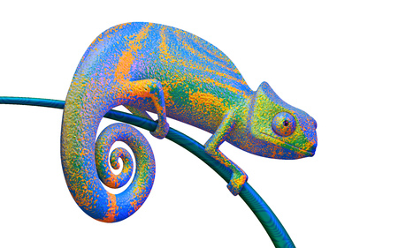 Bright green and purple chameleon on a branch, 3d rendering.