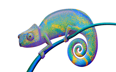 Bright chameleon on a branch, 3d rendering.