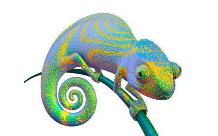 Green bright chameleon on a branch, 3d rendering.