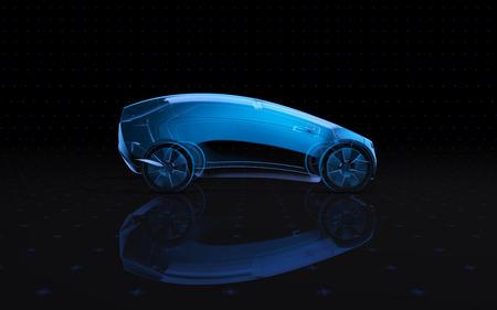 Blue x-ray vehicle on a dark background in 3d 版權商用圖片