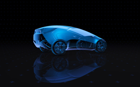 Blue x-ray car on a dark background in 3d