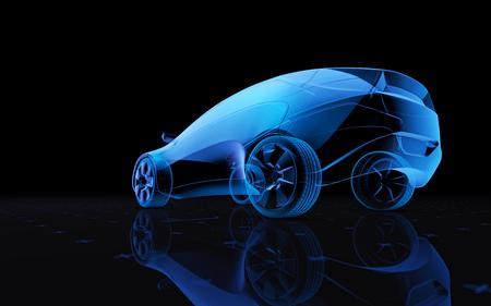Future blue x-ray concept car, 3d render