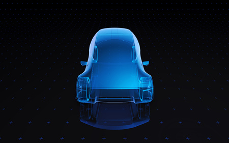 Future blue x-ray concept car, 3d render view front