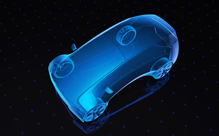 Future blue x-ray concept car, 3d render view top