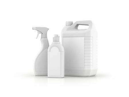 plastic bottle for cleaning, 3D rendering on white background 版權商用圖片