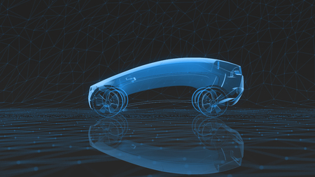x-ray car on a dark low poly background. 3d rendering 版權商用圖片