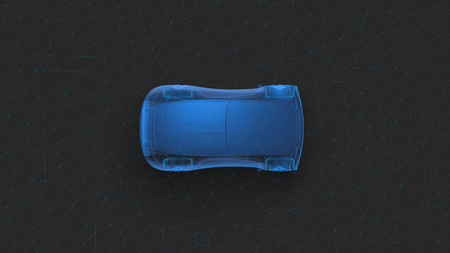 X-ray concept car top view. Sports car 3D blue transparent 3d render