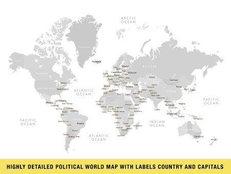 Highly detailed political world map with capitals. Vector illustration.