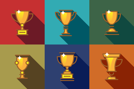 Award cups and trophy flat icons