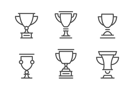 Award cups and trophy line icons 版權商用圖片 - 87109107