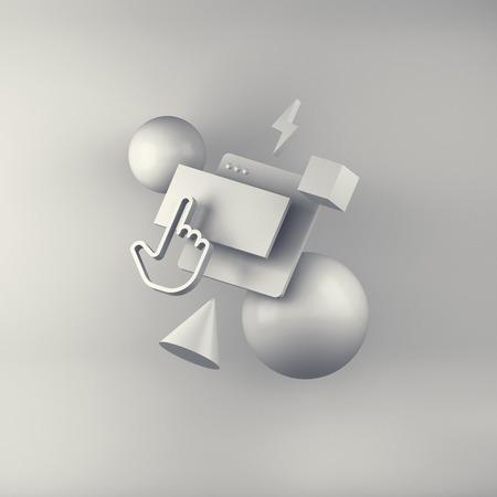 3d illustration, web banner, interface web site