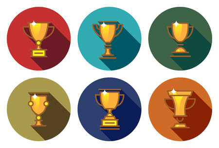 Award cups and trophy flat icons in circle 向量圖像
