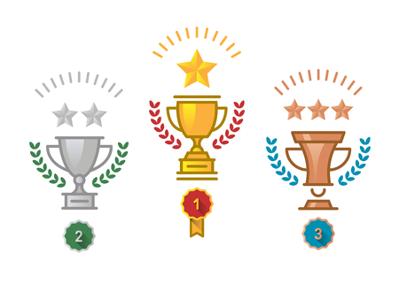 Vector flat gold, silver, and bronze trophy icon with stars and laurel wreath 版權商用圖片 - 90053327