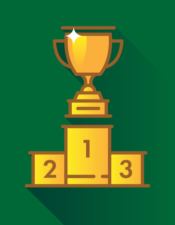 Gold Cup on green background 向量圖像