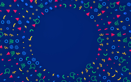 Abstract geometric circle pattern is 3d symbol on darck blue background. 版權商用圖片