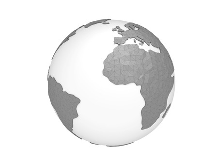World planet, 3d earth sphere illustration. Low poly design.